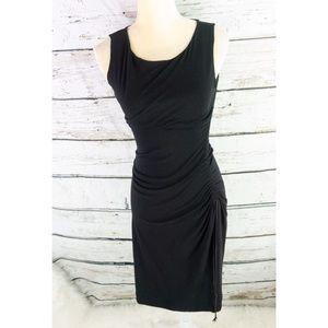 Max Mara Black Bodycon Side Tassel Dress